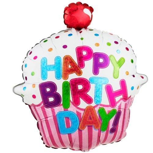 Betallic 85587P Happy Birthday Cupcake Foil Balloon, 31