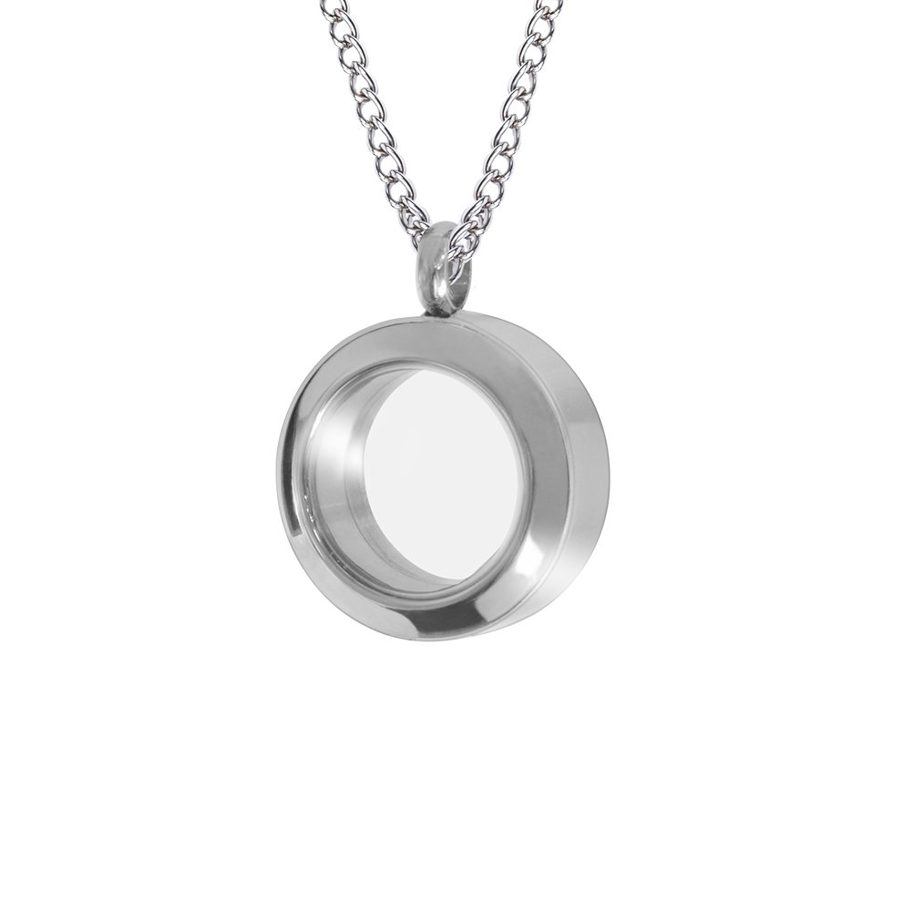 starton Stainless Memorial Glass Locket Pendant - Cremation Jewelry - Ash Necklace - Urn Necklace - Pet Memorial - Vial Necklace - Vial for Hair (sliver)