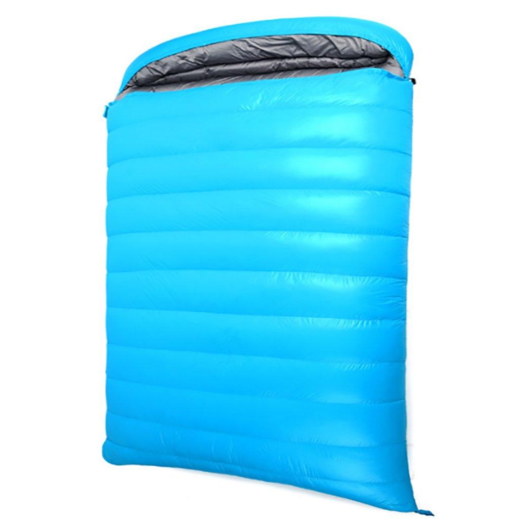 ダブルスリーピングバッグ、暖かい、3シーズン、軽量、屋外キャンプ (色 : Blue) B07FKY6H4L Blue Blue