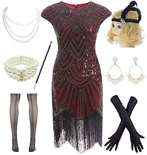 Scalloped Sequin - 1920s Plus Flapper Gatsby Sequin Scalloped Cocktail Dress w/ 20s Accessories Set (XXL, Wine Red)