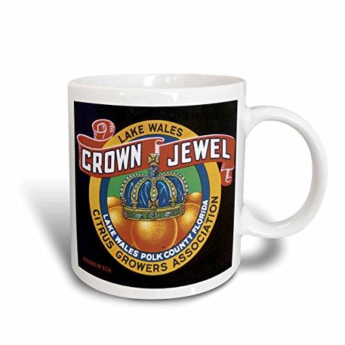 Fruit And Vegetable Crate Labels (3dRose BLN Vintage Fruit and Vegetable Crate Labels - Vintage Lake Wales Crown Jewel Citrus Growers Association - 11oz Mug (mug_129855_1))