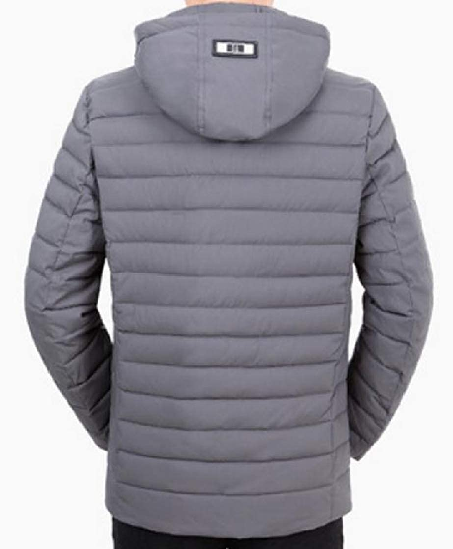 YUNY Men Warm Fitted Zip-up Hooded Winter Quilted Parka Jacket Coat Outwear Gray 2XL