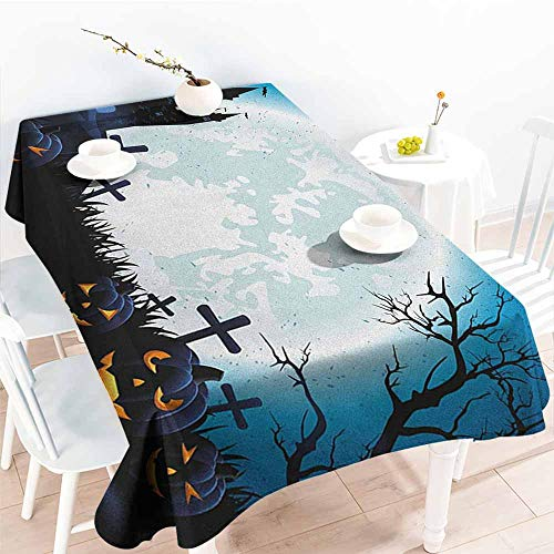 Willsd Waterproof Table Cover,Halloween Spooky Concept with Scary Icons Old Celtic Harvest Figures in Dark Image Holiday Print,Modern Minimalist,W60X102L Blue]()