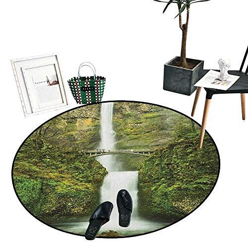 "Hobbits Dining Room Home Bedroom Carpet Floor Mat Falls of Rivendell Multnomah Waterfall Oregon with Hobbit Elf Path Bridge Scene Image Living Dinning Room and Bedroom Rugs (36"" Diameter) Green"