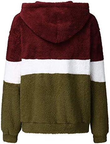 ZHOUJIE Winter Flauschigen Pullover Wolle Fleece Kapuzenpullover niedlich farblich passende warme Jacke Damen Herbst lässig Flauschigen Pullover Mantel-Braun_XXXL