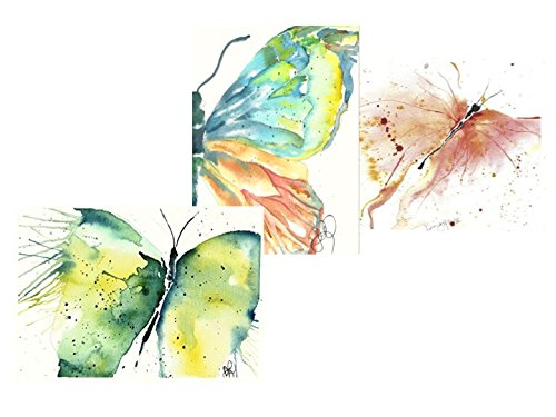 Summer Butterfly Assortment: 6 Blank Artistic All Occasion Garden Watercolor Note Cards, with Envelopes