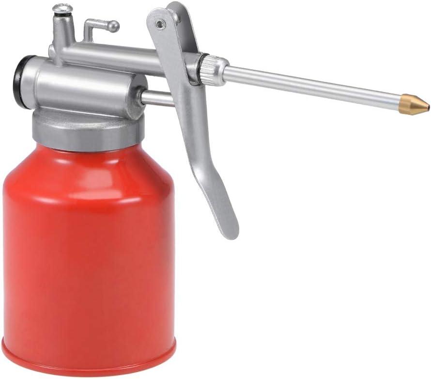 Sourcingmap - Aceite para latas de aceite, 250 ml, metal de alta presión, lubricante, botella, pistola de aceite manual con boquilla rígida, bomba de pulgar, aceite, color rojo