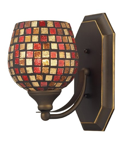Elk 570-1B-MLT 1-Light Vanity In Aged Bronze And Multi Mosaic Glass (Mlt Vanity Vanity Light)