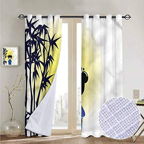 """NUOMANAN Curtains for Bedroom Anime,Kokeshi Doll Bamboo Tree Curtain Panels for Bedroom & Kitchen,1 Pair 84""""x84"""""""