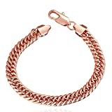 Unisex 9MM Flat Link Chains 18K Gold Plated Lobster Claw Clasp Hip Hop Cuban Bracelet (Rose Gold)