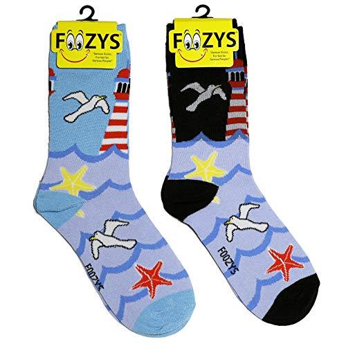 Foozys Women's Crew Socks | Lighthouse & Seagulls Island Novelty Socks | 2 ()