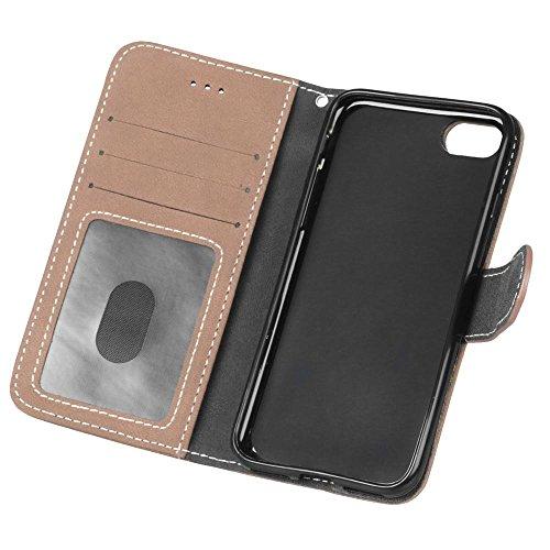 YHUISEN Estilo retro de color sólido Premium PU cuero cartera de la caja Flip Folio cubierta protectora de la caja con ranura para tarjeta / soporte para IPhone 7 ( Color : Black ) Beige