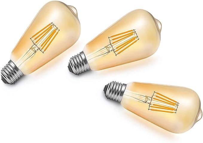 Lot de 9 MENTA Non-dimmable 6W E27 Ampoule de Filament LED ST64 Ampoule Vintage Super Brillant 540LM Blanc Chuad 2300K LED Edison AC 220V Ampoule Vintage E27 LED