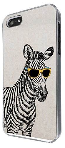422 - Funny Zebra Sunglasses Design iphone SE 5 5S Hülle Fashion Trend Case Back Cover Metall und Kunststoff