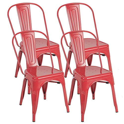 BONZY HOME Metal Dining Chairs, Stackable Side Chairs with Back, Indoor Outdoor Use Chair for Farmhouse, Patio, Restaurant, Kitchen, Set of 4(Red) (Patio Sets Dining Red)