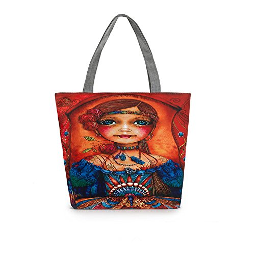 Flower Print Tote Bag Student Bag Canvas Top Handle Satchel Handbag Shopper
