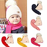EnjoCho Clearance Sale!8M-3YBaby Children Boys Warm Winter Hairball Knitted Beanie Hat Cap+Scarf Set