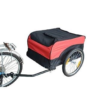 51yF3OkPpYL. SS300 HOMCOM 65 × 61 × 39 cm Carrello per bici Rimorchio per bicicletta Rosso/Nero