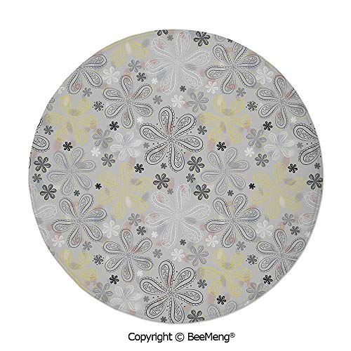 Diameter31 inch,Printing Round Rug,Dragonfly,Mat Non-Slip Soft Entrance Mat Door Floor Rug Area Rug for Chair Living Room,,Grey and Yellow,Ethnic Bohem Style Paisley Print Flowers Dots Art Image,Pale (Flowers Artificial Print Zebra)