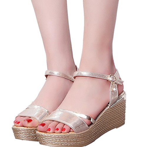 Winwintom Verano muffin Cabeza de pescado zapatos sandalias de mujer sandalias de plataforma simple sacudió Dorado