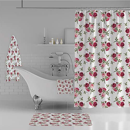 Towel Stem Rose - iPrint Bathroom 4 Piece Set Shower Curtain Floor mat Bath Towel 3D Print,Rose Stems Flowers Garden Classic English Style,Fashion Personality Customization adds Color to Your Bathroom.