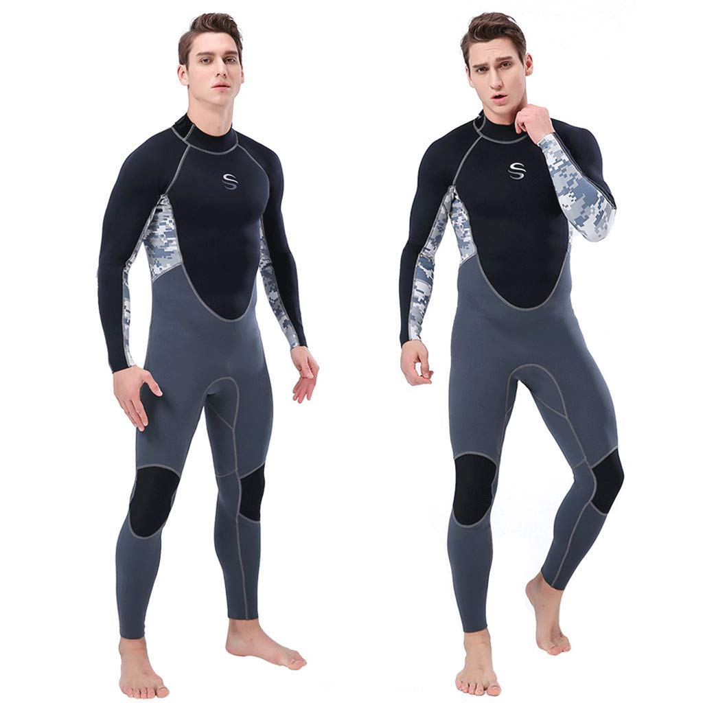 iCJJL 2MM Neoprene Full Wetsuits for Men, Back Zip Thermal Full Body Diving Suit Keep Warm Rash Guard One Piece Swimwear Dive Skin for Men-Snorkeling, Scuba Diving Swimming, Surfing, Spearfishing by iCJJL