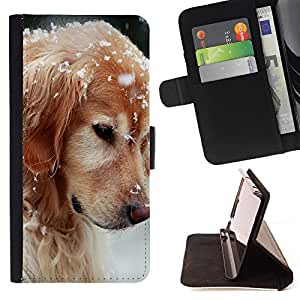 King Air - Premium PU Leather Wallet Case with Card Slots, Cash Compartment and Detachable Wrist Strap FOR Apple iPhone 6 6S 4.7 - Golden Retriever Dog Paws