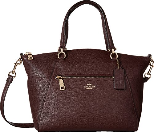 COACH Women's Pebbled Prairie Satchel Li/Oxblood One Size by Coach