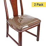Houseables Chair Seat Covers, Plastic Cover, Fits 16' - 18' Seats, 2 Pack, Clear, Adjustable, PVC, Waterproof Protector, Vinyl, Kids Chairs Slipcover, for Dining Room, Kitchen, Cushion, with Straps
