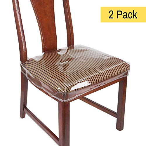 "Houseables Chair Seat Covers, Plastic Cover, Fits 16"" - 18"" Seats, 2 Pack, Clear, Adjustable, PVC, Waterproof Protector, Vinyl, Kids Chairs Slipcover, for Dining Room, Kitchen, Cushion, with Straps"