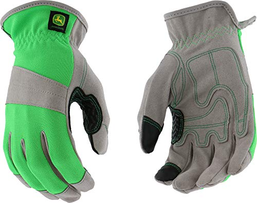 West Chester John Deere JD00026 High Dexterity Synthetic Leather Palm Utility Work Gloves with Touch Screen: Green, Women's Small/Medium, 1 Pair ()