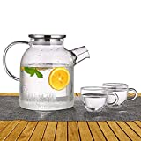 ONEISALL GYBL060 Glass Water Pitcher with Stainless