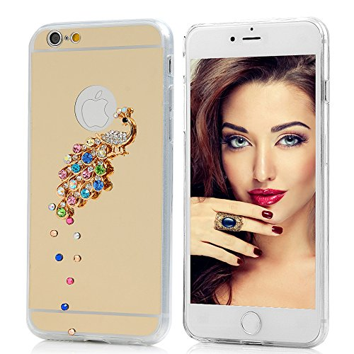 Mavis's Diary Coque iPhone 6/6S Coque TPU Souple Bling Bling Strass Chic Paon Strass Phone Case Cover Coque de Protection avec Chiffon Nettoyeuse