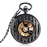 Mechanical Pocket Watches, for Nurse Black Elegant Hand Winding Pocket Watches for Men Women, Stripe Case Pocket Watch Gift