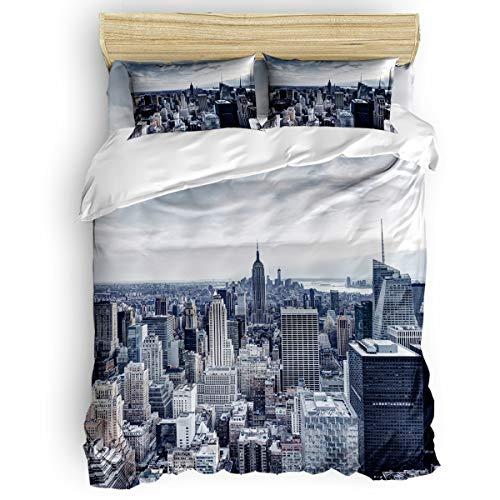(Libaoge Bedding Duvet Cover 4 Piece Set Twin Size, New York City Manhattan Skyline Illuminated Comforter Cover with Corner Ties/Flat Sheet/Pillowcases for Men Women Adults Teen Kids)