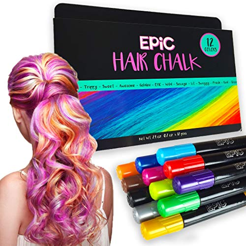 (EPIC - Hair Chalk Set - 12 Large, Colorful Pens - Easter Present, Birthday Gifts - Temporary Color for Girls, Boys and Adults - Perfect Present Ages 5 6 7)