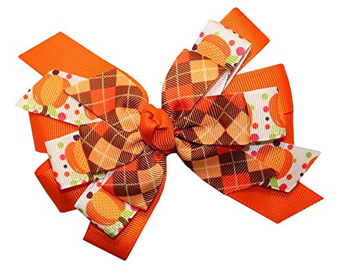 WD2U Girls Pumpkin Argyle Thanksgiving Day Harvest Hair Bow French Clip Barrette (Grosgrain Argyle Ribbon)