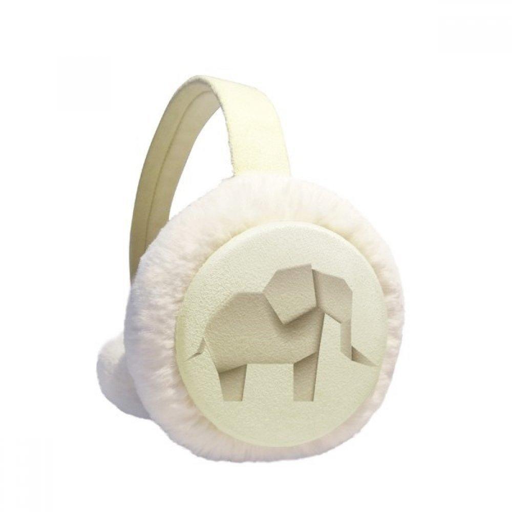 Origami Geometric Abstract Elephant Pattern Winter Earmuffs Ear Warmers Faux Fur Foldable Plush Outdoor Gift