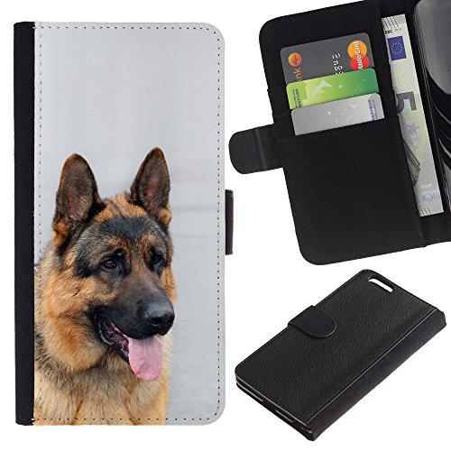EuroCase - Apple Iphone 6 PLUS 5.5 - German shepherd canine dog king - Cuero PU Delgado caso cubierta Shell Armor Funda Case Cover