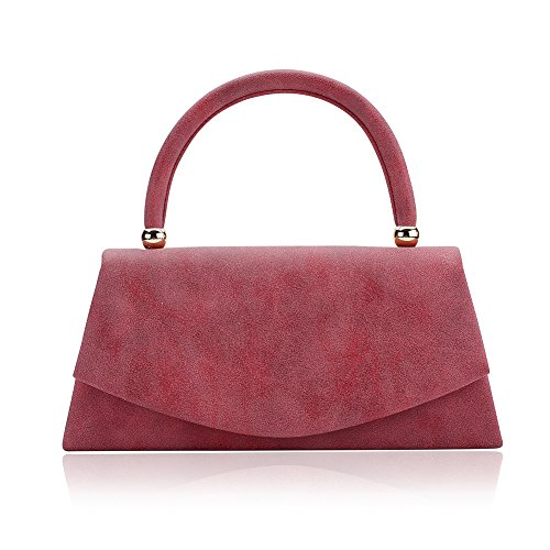 Women's Classic Envelope Evening Bag, WALLYN'S Wedding Prom Party Clutch Suede Velvet Handbag Purse (Red)