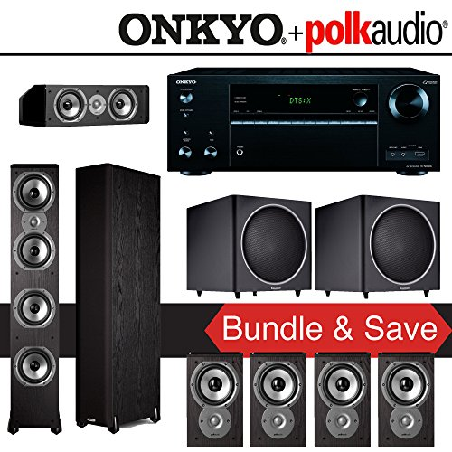 Polk Audio TSi 500 7.2-Ch Home Theater System with Onkyo TX-NR656 7.2-Ch Network AV Receiver by Polk Audio