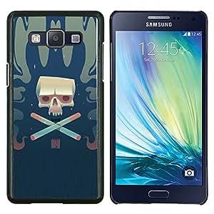 Cráneo del cigarrillo- Metal de aluminio y de plástico duro Caja del teléfono - Negro - Samsung Galaxy A5 / SM-A500