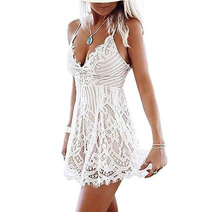 9b4262087 Vandot Mujeres Correa de Espagueti V Cuello Encaje Croché Vestidos Corto  Verano Casual Playa Fiesta Dress