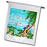 3dRose Macdonald Creative Studios – Islands – Trop Rock Island Music Design with a sea Plane. – 18 x 27 inch Garden Flag (fl_291896_2) For Sale