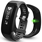 Fitness Tracker, Heart Rate Monitor Watch, Bluetooth Smart Fitness Tracker Armband | Wristband | Bracelet with OLED Display and free iOS Android APP, EIISON Black