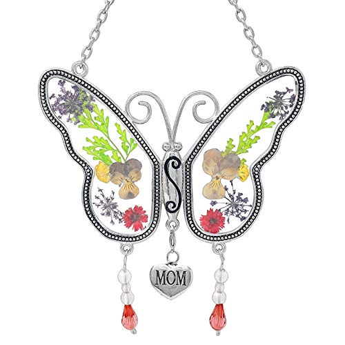 Mom Butterfly Suncatcher  with Pressed Flower Wings