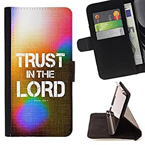 BullDog Case - FOR/Apple Iphone 6 / - / TRUST IN THE LORD - PSALM 125:1 /- Monedero de cuero de la PU Llevar cubierta de la caja con el ID Credit Card Slots Flip funda de cuer