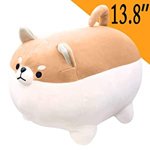 ANJUU Dog Plush Pillow Soft Pets Puppy Cute Corgi Throw Pillow Neck Support Travel Pillows Animal Stuffed Toy Gifts Home Decor for Kids Girl Boy Birthday Christmas (Black,13.8'')