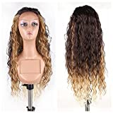 613 27 4 lace front wig - HAIR WAY 3 Tones Ombre Synthetic Lace Front Wig Long Natural Wavy Soft Glueless Wigs Heat Resistant Fiber Hair Replacement Wigs for Women Half Hand Tied R4/27/613 24Inch