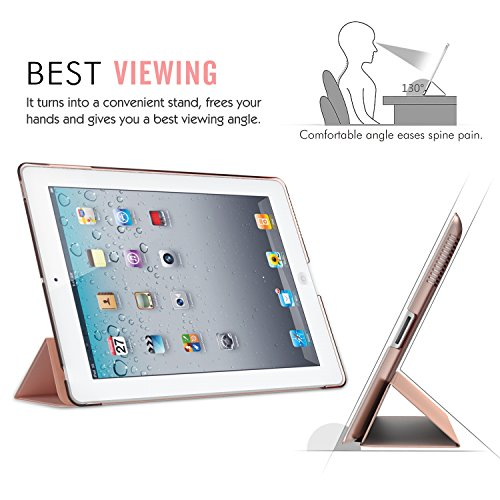 Moko Case for iPad 2/3 / 4 - Ultra Lightweight Slim Smart Shell Stand Cover with Translucent Frosted Back Protector for iPad 2 / The New iPad 3 (3rd Gen) / iPad 4, Rose Gold (with Auto Wake/Sleep) by MoKo (Image #6)